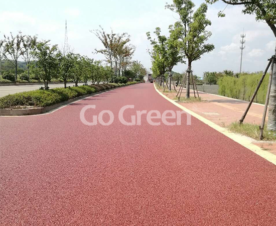 Red porous asphalt pavement project completed successfully