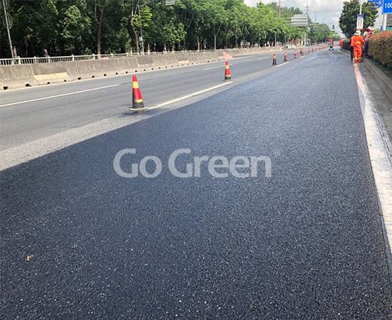 沥城高粘含砂雾封层成功应用于上海高速公路项目